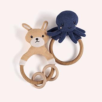 Wooden Rattle Octopus 木製のガラガラタコ